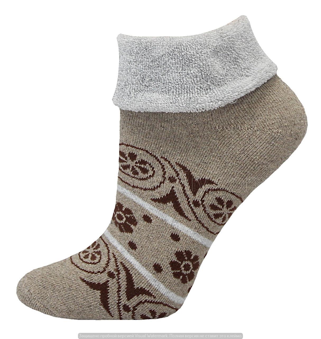 Носки оптом женские махровые с отворотом бежевый