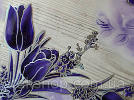 Мягкое стекло Скатерть с лазерным рисунком Soft Glass 2.7х0.8м толщина 1.5мм Фиолетовые тюльпаны, фото 2