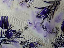 Мягкое стекло Скатерть с лазерным рисунком Soft Glass 2.7х0.8м толщина 1.5мм Фиолетовые тюльпаны, фото 3