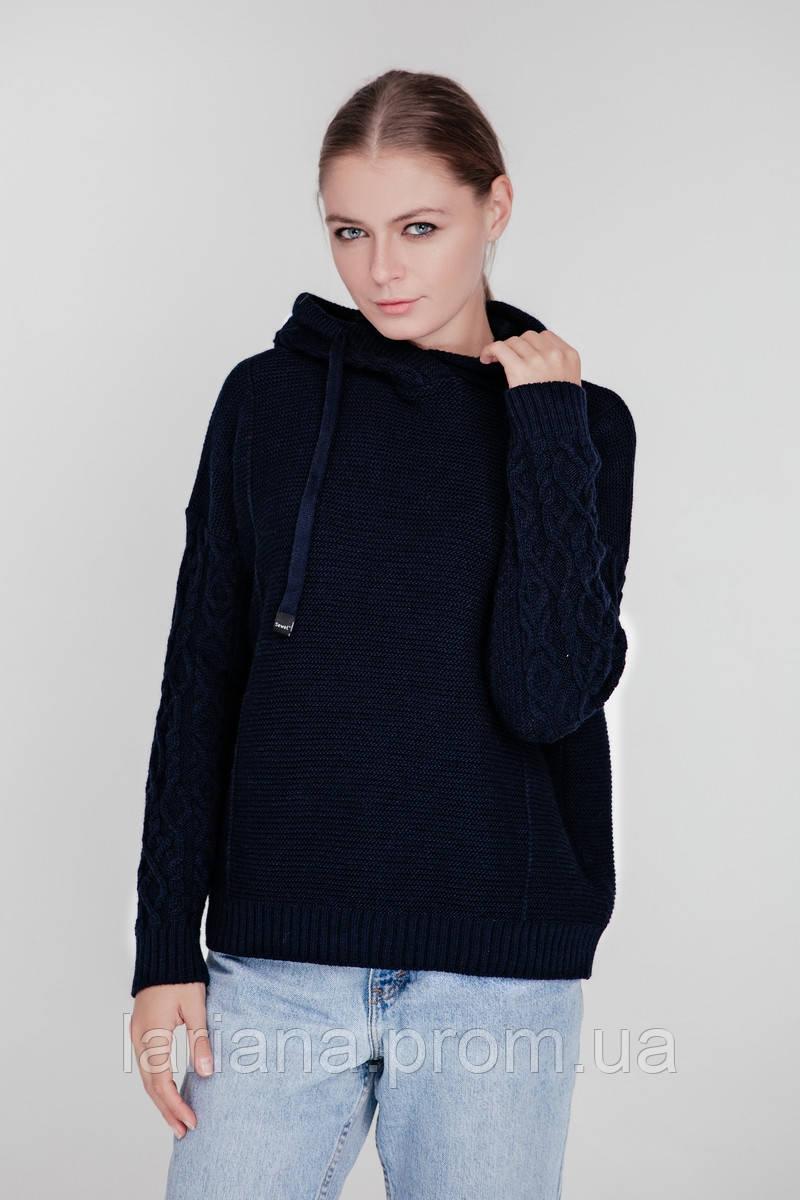 SEWEL Худи SW557 (One Size, темно-синий, 60% акрил/ 30% шерсть/ 10% эластан)