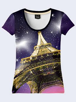 Женская футболка с принтом Париж Эйфелевая башня