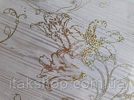 М'яке скло Скатертину з лазерним малюнком Soft Glass 1.0х0.8м товщина 1.5 мм Золотисті лілії, фото 3