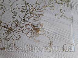 М'яке скло Скатертину з лазерним малюнком Soft Glass 1.0х0.8м товщина 1.5 мм Золотисті лілії, фото 2
