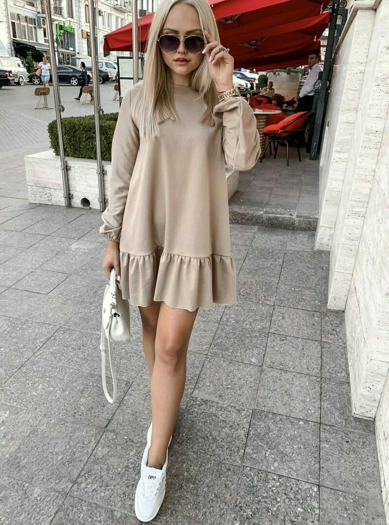"""Трикотажное мини-платье """"LEROS"""" с оборкой и длинным рукавом"""