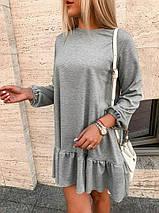 """Трикотажное мини-платье """"LEROS"""" с оборкой и длинным рукавом, фото 3"""