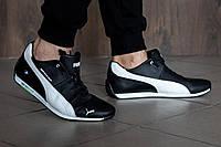 Мужские кожаные кроссовки Puma bmw чёрные с белым на шнуровке | 45 размер, фото 1