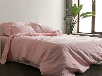 Комплект постільної білизни Komfort з Льону РОЖЕВИЙ двоспальний