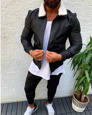 Мужская кожаная куртка черного цвета на манжетаж, фото 2