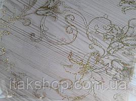 Мягкое стекло Скатерть с лазерным рисунком Soft Glass 1.2х0.8м толщина 1.5мм Золотистые лилии, фото 2