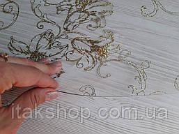 Мягкое стекло Скатерть с лазерным рисунком Soft Glass 1.2х0.8м толщина 1.5мм Золотистые лилии, фото 3
