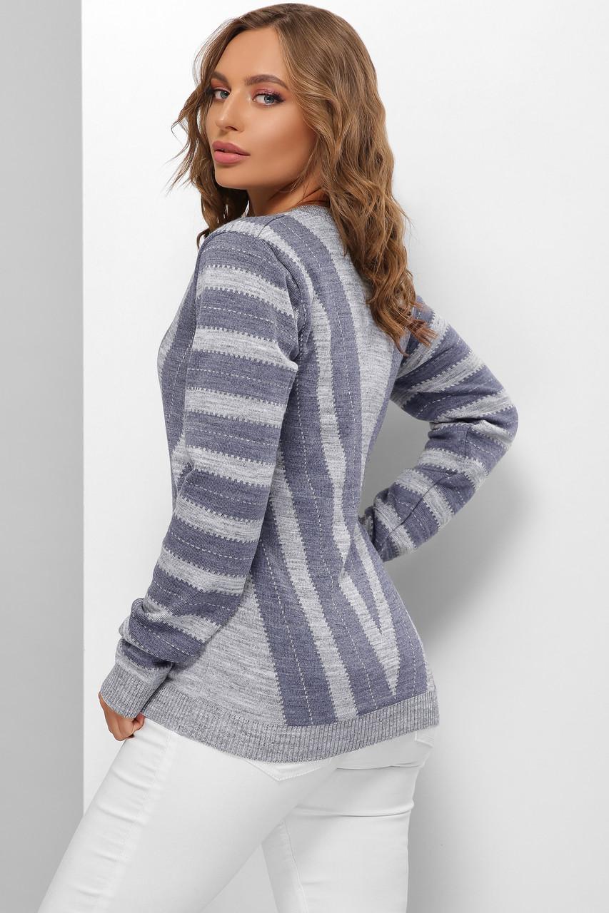 В'язаний джемпер жіночий оверсайз темно-сірий-джинс світлий