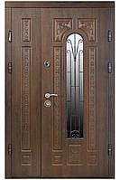 Двери входные полуторные 120см Днепр ПК 139 V  Входные двери для частного дома Входная дверь с ковкой, стеклом