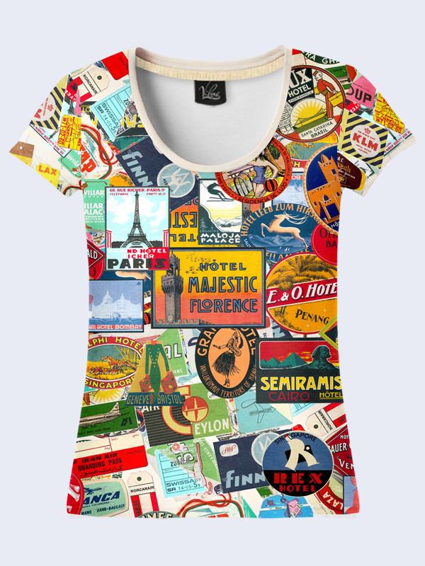 Женская футболка с принтом Марки из путешествий