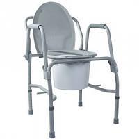Стул-туалет с откидными подлокотниками стальной (высота 47-58) Кресло-туалет