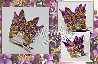 Корона на заколке фиолетовая
