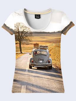 Женская футболка с принтом Авто на дороге