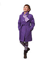 Пальто для девочки с шарфом  кашемир  м-969-1 рост 116-140 разных цветов , фото 1