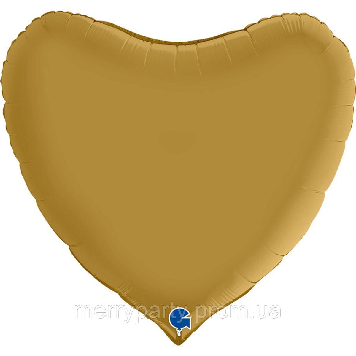 """36"""" (90 см) Сердце сатин золото Grabo Италия шар фольгированный"""