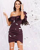 Сукня жіноча міні ошатне з рюшем AniTi 556 ,сливовий, фото 2