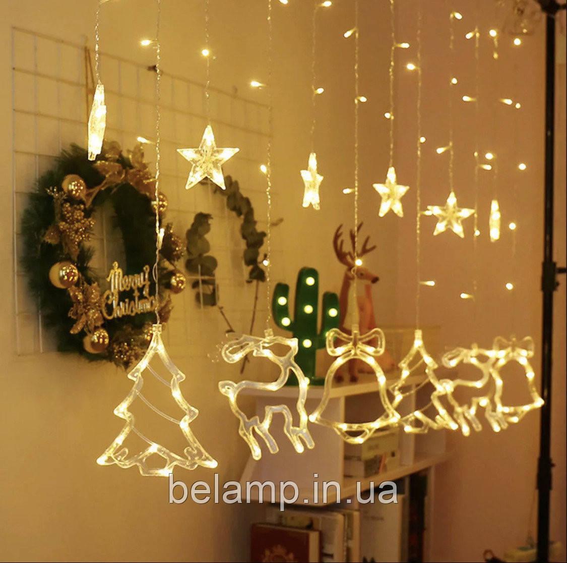 Новогодняя  светодиодная гирлянда штора (бахрома) на окно «Сказка»