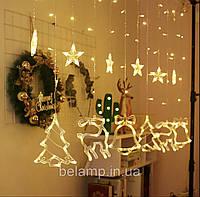 Новогодняя  светодиодная гирлянда штора (бахрома) на окно «Сказка», фото 1