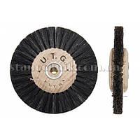 Щетка дисковая волосяная сжатая UTG 80 мм 2-х рядная, дерев диск (жесткая) 1165