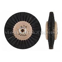 Щетка дисковая волосяная сжатая UTG 80 мм 4-х рядная, дерев диск (жесткая) 732
