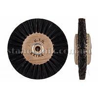 Щетка дисковая волосяная сжатая UTG 80 мм 3-х рядная, дерев диск (жесткая) 1166