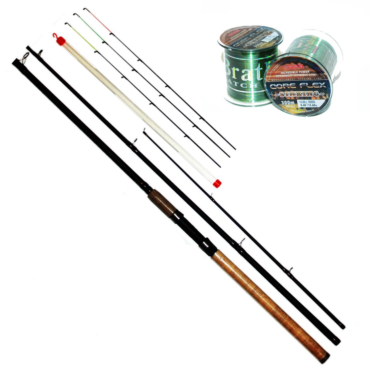 Фидерный спиннинг BratFishing Taipan 3.9 м.(тест 80 - 180 г..) + леска 300 м. в подарок