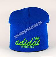 Шапка Adidas электрик (голубая), подклад из флиса