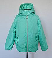 Детская демисезонная куртка для девочек 6-8 лет, бирюзовая