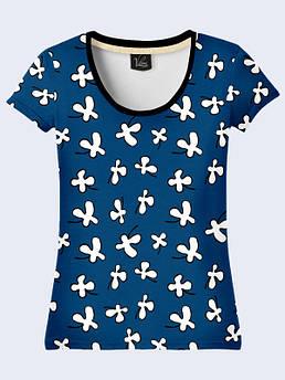 Синяя женская футболка с принтом Белые цветочки