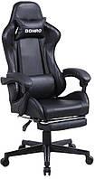 Кресло игровое геймерское кожзам с подставкой для ног стул с системой качания TILT и наклоном спинки черное