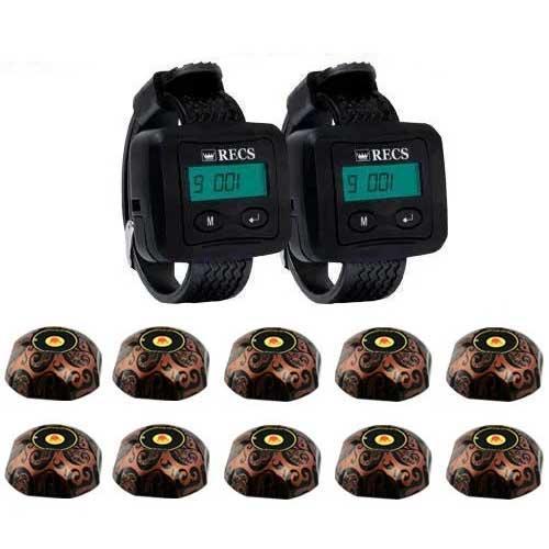 Система вызова официанта RECS №111   кнопки вызова официанта 10 шт + 2 пейджера официанта