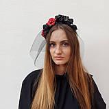 Обруч з чорними та червоними трояндами до Хеловіну, фото 6
