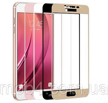 Захисне скло для Samsung Galaxy (Самсунг) S6 на весь екран ( чорне, біле золото)