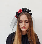 Обруч з чорними та червоними трояндами до Хеловіну, фото 5
