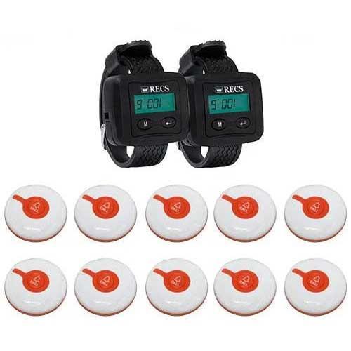 Система вызова медперсонала RECS №104 | кнопки вызова медсестры 10 шт + 2 пейджера персонала
