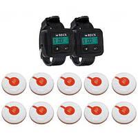 Система виклику медперсоналу RECS №104 | кнопки виклику медсестри 10 шт + 2 пейджера персоналу, фото 1