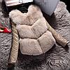 Женский меховой полушубок с кожаными рукавами. (114890)