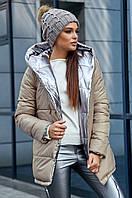 Женская двухсторонняя теплая осенне-зимняя куртка. Цвет бежевый, серебряный, фото 1