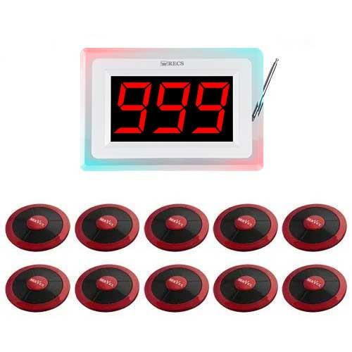 Система виклику офіціанта RECS №100   кнопки виклику офіціанта 10 шт + приймач викликів