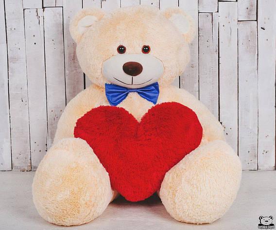 Большая мягкая игрушка мишка с сердцем Yarokuz Билли 150 см Персиковый, фото 2