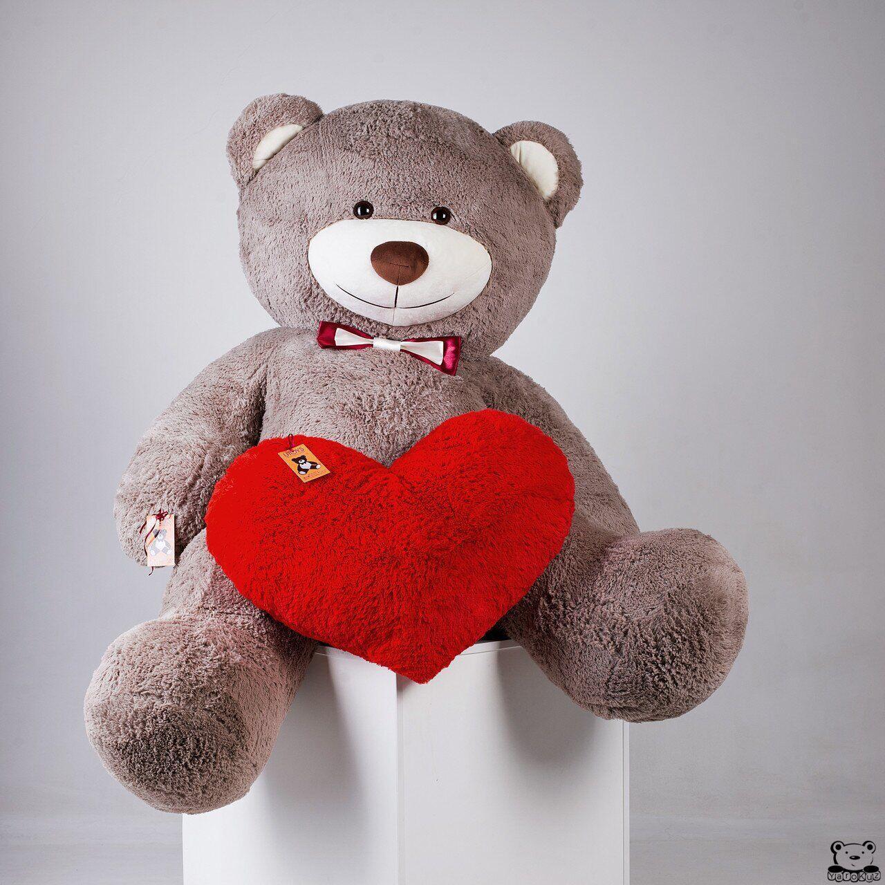 Большой плюшевый мишка с сердцем Yarokuz Ричард 200 см Капучино