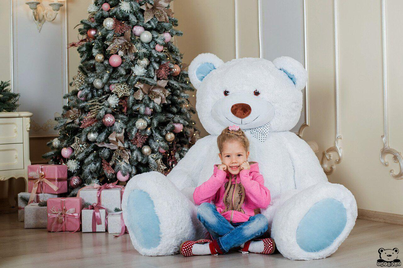 Великий плюшевий ведмедик Yarokuz Річард 200 см Білий з блакитним