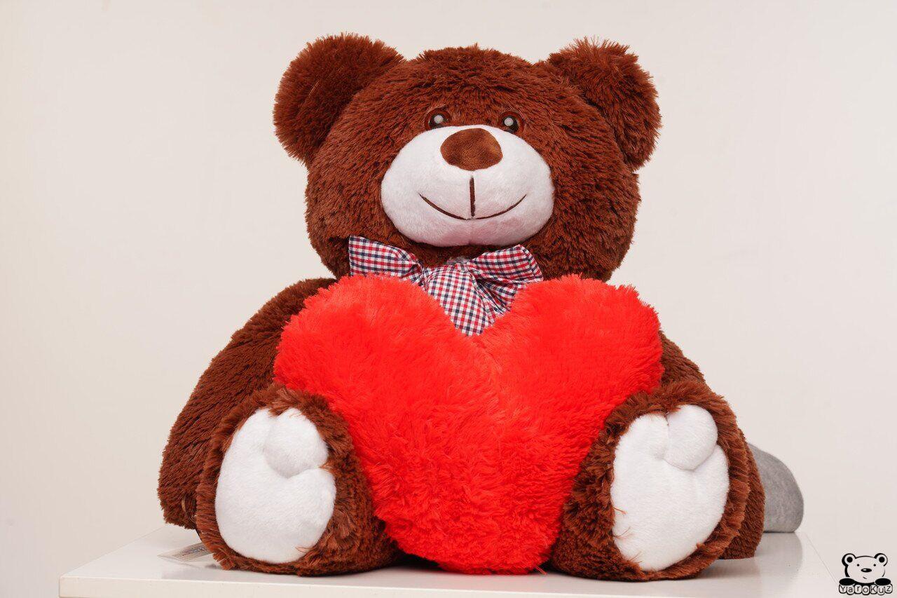 Плюшевий ведмідь з сердечком Yarokuz Джиммі 90 см Шоколадний