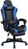 Кресло игровое геймерское раскладное с подставкой для ног стул геймерский с системой качания TILT синий