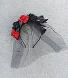 Обруч з чорними та червоними трояндами до Хеловіну, фото 4