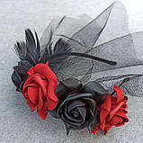 Обруч з чорними та червоними трояндами до Хеловіну, фото 3