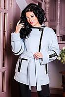 Женская зимняя куртка из шерстяной итальянской пальтовой ткани с отделкой из кожи Анталия р 44-52.